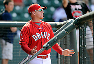 Manager Darren Fenster (3) of the Greenville Drive in a game against the Lexington Legends on Sunday, April 27, 2014, at Fluor Field at the West End in Greenville, South Carolina. Greenville won, 21-6. (Tom Priddy/Four Seam Images)