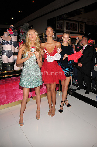 New York, NY: December 2: Romee Strijd, Lais Ribeiro, Josephine Skriver poses at Victoria's Secret, Fifth Ave on December 2, 2016 in New York City.@John Palmer / Media Punch