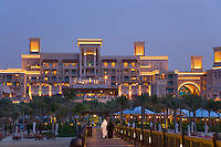 Dubai.  Al Qasr Hotel, built in the style of a Moroccan palace, seen from the pier leading out to the Pier Chic restaurant.  .