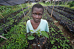 Gosute Juste, 12, holds seedlings in a plant nursery in Despagne, an isolated village in southern Haiti where the Lutheran World Federation has been working with residents to improve their quality of life. The LWF-sponsored nursery helps residents combat their country's rampant deforestation.