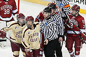 Emily Field (BC - 15), Dana Trivigno (BC - 8), ?, Sarah Edney (Harvard - 3) - The Boston College Eagles defeated the visiting Harvard University Crimson 3-1 in their NCAA quarterfinal matchup on Saturday, March 16, 2013, at Kelley Rink in Conte Forum in Chestnut Hill, Massachusetts.