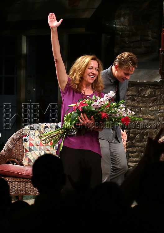 "Julie White and Billy Magnussen during the Curtain Call as Julie White makes her Debut Performance In ""Vanya And Sonia And Masha And Spike"" at The Golden Theatre on July 30, 2013 in New York City."