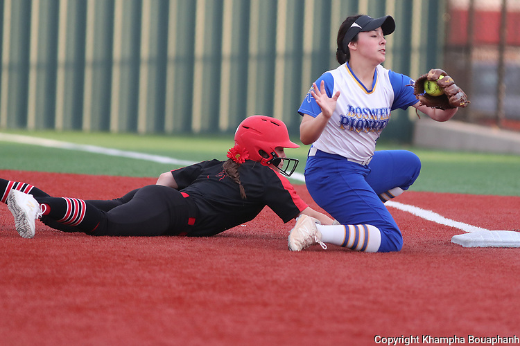 Boswell beats Burleson 2-0 in the 9th inning of game two 5A Area high school softball at Argyle High Schooll on Thursday, May 2, 2019. (Photo by Khampha Bouaphanh)