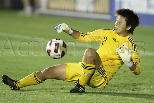 18.05.2011 Japan goalkeeper Ayumi Kaihori makes a save. The United States Women's National Team defeated the Japan Women's National Team 2-0 at WakeMed Stadium in Cary, North Carolina as part of preparations for the 2011 Women's World Cup.