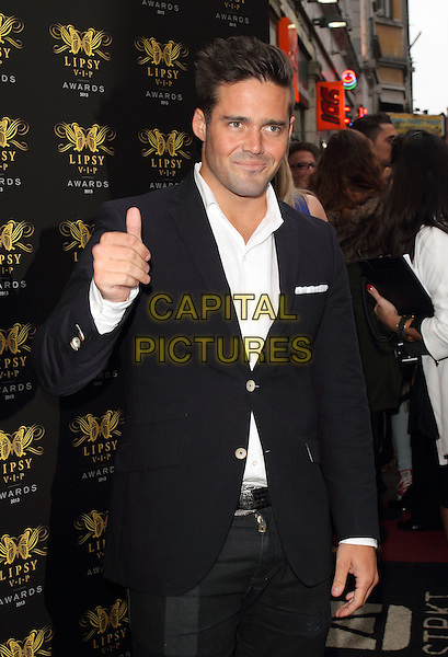 Spencer Matthews<br /> Lipsy VIP Fashion Awards at DSTRKT, London, England.<br /> May 29th 2013<br /> half length black suit jacket white shirt hand thumb up<br /> CAP/ROS<br /> &copy;Steve Ross/Capital Pictures