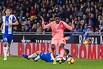 Ousmane Dembele of FC Barcelona (L) in action against David Lopez of RCD Espanyol (R) during the La Liga 2018-19 match between RDC Espanyol and FC Barcelona at Camp Nou on 08 December 2018 in Barcelona, Spain. Photo by Vicens Gimenez / Power Sport Images
