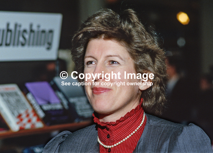 Judy Hurd, wife of Douglas Hurd, Secretary of State for N Ireland, UK, 19850021JH1.<br /> <br /> Copyright Image from Victor Patterson, 54 Dorchester Park, <br /> Belfast, UK, BT9 6RJ<br /> <br /> t1: +44 28 9066 1296 (from Rep of Ireland 048 9066 1296)<br /> t2: +44 28 9002 2446 (from Rep of Ireland 048 9002 2446)<br /> m: +44 7802 353836<br /> <br /> e1: victorpatterson@me.com<br /> e2: victorpatterson@gmail.com<br /> <br /> www.victorpatterson.com<br /> <br /> Please see my Terms and Conditions of Use at www.victorpatterson.com. It is IMPORTANT that you familiarise yourself with them.<br /> <br /> Images used on the Internet must be visibly watermarked i.e. &copy; Victor Patterson within the body of the image and copyright metadata must not be deleted. Images used on the Internet have a size restriction of 4kbs and will be chargeable at current NUJ rates unless advised otherwise.<br /> <br /> This image is only available for the use of the download recipient i.e. television station, newspaper, magazine, book publisher, etc, and must not be passed on to any third party. It is also downloaded on condition that each and every usage is notified within 7 days to victorpatterson@me.com<br /> <br /> The right of Victor Patterson to be identified as the author is asserted in accordance with The Copyright Designs And Patents Act (1988).
