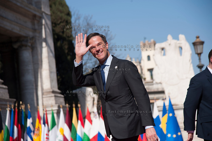 Rome, Italy, March 25,2017. Dutch Prime Minister Mark Rutte arrives for an EU summit at the Palazzo dei Conservatori in Rome. EU leaders gather in Rome on Saturday to celebrate the 60th anniversary of the EU's founding treaty.