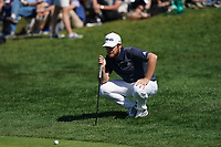 Tyrrell Hatton (ENG) on the 18th green during the 3rd round at the PGA Championship 2019, Beth Page Black, New York, USA. 19/05/2019.<br /> Picture Fran Caffrey / Golffile.ie<br /> <br /> All photo usage must carry mandatory copyright credit (© Golffile | Fran Caffrey)