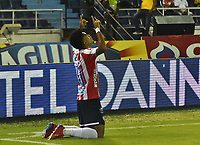 BARRANQUIILLA - COLOMBIA, 23-01-2019: Luis Diaz del Atlético Junior celebra después de anotar un gol a Deportes Tolima durante partido de ida por la Súper Liga Águila 2019 jugado en el estadio Metropolitano Roberto Melendez de la ciudad de Barranquilla. / Luis Diaz of Atletico Junior celebrates after scoring a goal to Deportes Tolima during first leg match of the Aguila Super League 2019 played at Metropolitano Roberto Melendez stadium in Barranquilla city.  Photo: VizzorImage / Cristian Alvarez / Cont