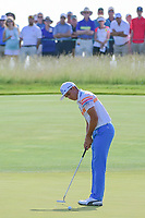 Rickie Fowler (USA) watches his putt on 11 during Thursday's round 1 of the 117th U.S. Open, at Erin Hills, Erin, Wisconsin. 6/15/2017.<br /> Picture: Golffile | Ken Murray<br /> <br /> <br /> All photo usage must carry mandatory copyright credit (&copy; Golffile | Ken Murray)