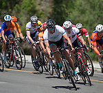 Jordan McElroy from Truckee, CA leads the pack in the Elite 3/4 division of the Tour De Nez Bike Race in downtown Reno on Saturday, June 11, 2016.
