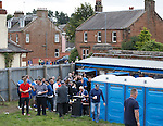 Rangers fans arrive through the back streets at Palmerston Park