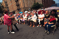 (950601-SWR04) BROOKLYN, NEW YORK -- File Photo -- A crowd watches as a couple of Senior Russian Emigrees dance at a Jewish Pride Street Festival in Brighton Beach..Photo  © Stacy Walsh Rosenstock