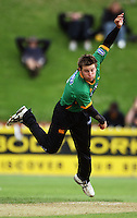 Central bowler Doug Bracewell in action during the State Shield cricket match between the Wellington Firebirds and Central Stags at Allied Prime Basin Reserve, Wellington, New Zealand on Sunday, 11 January 2009. Photo: Dave Lintott / lintottphoto.co.nz