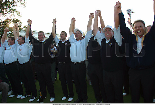 European Team celebrations, 34th Ryder Cup, The Belfry, Sutton Coldfield, 020929. Photo: Glyn Kirk/Action Plus...2002.golf golfer.celebrate celebrates joy teamwork