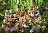 Interlitho-Marcello, REALISTIC ANIMALS, REALISTISCHE TIERE, ANIMALES REALISTICOS, paintings+++++,tigers,jungle,KL4509,#A#, EVERYDAY ,puzzles