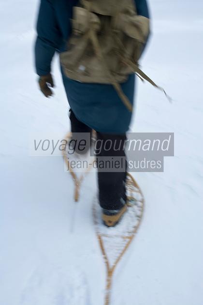 Amérique/Amérique du Nord/Canada/Québec//Mauricie/Saint-Alexis-des-Monts:  A la Pourvoirie du Lac Blanc  randonnée en raquettes avec Gaston le trappeur