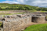 Northumberland,  England, UK.  Vindolanda Roman Fort.  Remains of Baths.
