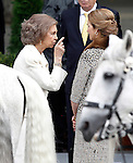 Sofia Queen of Spain (l) and Infanta Elena of Spain attend the National Day Military Parad.October 12,2012.(ALTERPHOTOS/Acero)