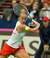 Moskou, Russia, Februari 4, 2016,  Fed Cup Russia-Netherlands, Richel Hogenkamp (NED)<br /> Photo: Tennisimages/Henk Koster