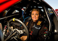 Sept. 5, 2010; Clermont, IN, USA; NHRA pro stock driver Erica Enders during qualifying for the U.S. Nationals at O'Reilly Raceway Park at Indianapolis. Mandatory Credit: Mark J. Rebilas-