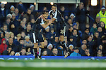 Shinji Okazaki of Leicester City  celebrates scoring his goal to make it 3-2 with team mate Riyad Mahrez of Leicester City<br /> - Barclays Premier League - Everton vs Leicester City - Goodison Park - Liverpool - England - 19th December 2015 - Pic Robin Parker/Sportimage