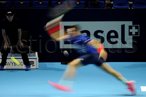 25.10.2016.  St. Jakobshalle, Basel, Switzerland. Basel Swiss Indoors Tennis Championships. Day 2. Milos Raonic of Canada in action in the match against Ricardas Berankis of Lithuania