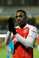 Amari'i Bell of Fleetwood Town salutes the travelling fans during the Sky Bet League 1 match between Southend United and Fleetwood Town at Roots Hall, Southend, England on 13 January 2018. Photo by Carlton Myrie.