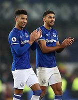 26th December 2019; Goodison Park, Liverpool, Merseyside, England; English Premier League Football, Everton versus Burnley; match winning goal scorer Dominic Calvert-Lewin of Everton with Mason Holgate of Everton after the final whistle - Strictly Editorial Use Only. No use with unauthorized audio, video, data, fixture lists, club/league logos or 'live' services. Online in-match use limited to 120 images, no video emulation. No use in betting, games or single club/league/player publications
