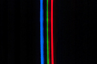 SPECTRUM ANALYSIS: EMISSION (BRIGHT LINE) SPECTRA<br /> Krypton (Kr) Noble Gas<br /> Electrical discharge passes through the spectrum tube, which is filled with gas, causing electrons in the gas to be excited.  As the electrons relax, they emit light - a characteristic color for each gas.