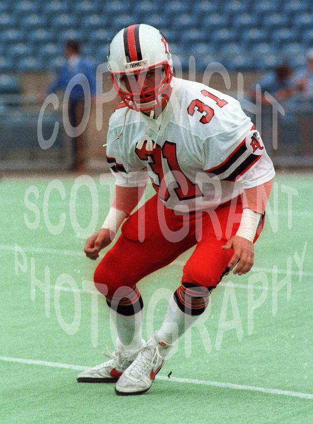Kevin Konar BC Lions 1984. Photo F. Scott Grant