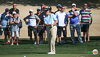 Ernie Els (RSA) chips from the left of the 3rd green during the Final Round of the 2016 Omega Dubai Desert Classic, played on the Emirates Golf Club, Dubai, United Arab Emirates.  07/02/2016. Picture: Golffile | David Lloyd<br /> <br /> All photos usage must carry mandatory copyright credit (&copy; Golffile | David Lloyd)