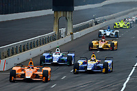 Verizon IndyCar Series<br /> Indianapolis 500 Race<br /> Indianapolis Motor Speedway, Indianapolis, IN USA<br /> Sunday 28 May 2017<br /> All 5 of the Andretti Autosport cars exit the pits at the front of the field, leader Fernando Alonso, McLaren-Honda-Andretti Honda, Alexander Rossi, Andretti Herta Autosport with Curb-Agajanian Honda, Takuma Sato, Andretti Autosport Honda and Marco Andretti, Andretti Autosport with Yarrow Honda<br /> World Copyright: F. Peirce Williams<br /> LAT Images