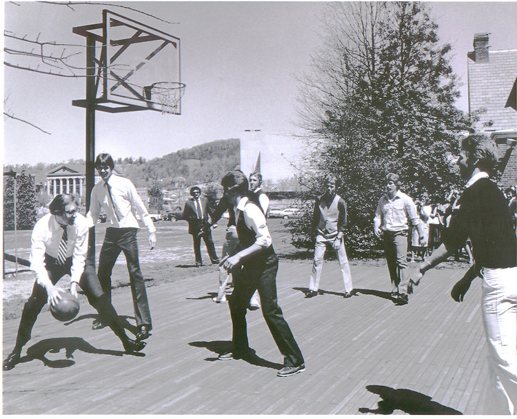 Then-Governor Jay Rockefeller (D-WV) puts a spin move on Jimmy Miller, Princeton High School star, in May of 1981.  During his tenure as Governor of West Virginia, Rockefeller often challenged high school basketball standouts to the GovernorÕs mansion for pick-up games.  Miller went on from pick-up games at the GovernorÕs mansion to a distinguished playing career at the University of Virginia..