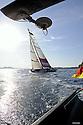 Louis Vuitton Trophy La Maddalena 26 maggio 2010. Luna Rossa sfila di poppa ad All4One durante una regata vinta dai franco tedeschi
