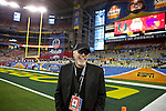 010313-- Nike Founder Phil Knight visits with the media on the sidelines before the Fiesta Bowl between the Oregon Ducks and the Kansas State Wildcats at the University of Phoenix Stadium in Glendale, Az..Photo by Jaime Valdez