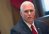 United States  Vice President Mike Pence speaks to the media during a meeting with Amir Sabah al-Ahmed al-Jaber al-Sabah of Kuwait at The White House in Washington, DC, September 7, 2017. <br /> Credit: Chris Kleponis / Pool via CNP