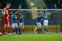 24th November 2019; McDairmid Park, Perth, Perth and Kinross, Scotland; Scottish Premiership Football, St Johnstone versus Aberdeen; Callum Hendry of St Johnstone is red carded by referee Kevin Clancy reducing St Johnstone to nine men in the 77th minute - Editorial Use