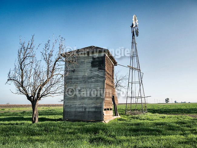Aermotor windmill and weathered tank house, Hungry Hollow, Yolo County, Calif.