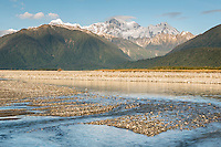 The Southern Alps and Cook River at sunset, Westland Tai Poutini National Park, West Coast, South Westland, UNESCO World Heritage Area, New Zealand