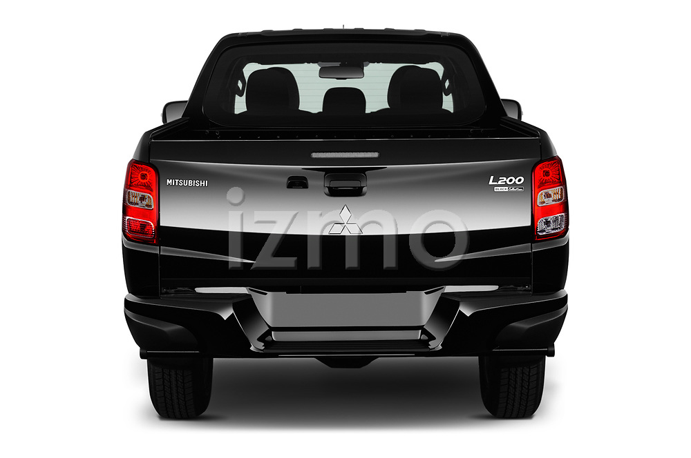 Straight rear view of a 2019 Mitsubishi L200 Black Collection Plus 4 Door Pick Up stock images