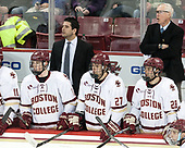 Christopher Brown (BC - 10), Mike Ayers (BC - Assistant Coach), Graham McPhee (BC - 27), Ron Greco (BC - 28), Jerry York (BC - Head Coach) - The Boston College Eagles defeated the University of Vermont Catamounts 7-4 on Saturday, March 11, 2017, at Kelley Rink to sweep their Hockey East quarterfinal series.The Boston College Eagles defeated the University of Vermont Catamounts 7-4 on Saturday, March 11, 2017, at Kelley Rink to sweep their Hockey East quarterfinal series.