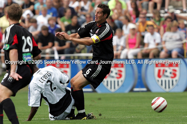 29 August 2005: Newly elected Hall of Famer and DC United Captain John Harkes (6) takes a hard challenge from Colorado's Ricky Lewis. The Colorado Rapids defeated DC United 6-2 at At-A-Glance Field in Oneonta, New York in the 2005 Hall of Fame Game..