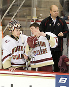 Parker Milner (BC - 35), Patch Alber (BC - 27), John Hegarty (BC - Dir-Hockey Ops) - The Boston College Eagles defeated the visiting Boston University Terriers 5-2 on Saturday, December 4, 2010, at Conte Forum in Chestnut Hill, Massachusetts.