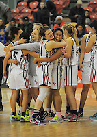 NPGHS players celebrate winning the 2014 National Secondary Schools Basketball Championship AA girls' semifinal between New Plymouth Girls' High School and St Peter's College Cambridge at Arena Manawatu, Palmerston North, New Zealand on Friday, 3 October 2014. Photo: Dave Lintott / lintottphoto.co.nz