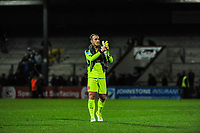 Fleetwood Town's goalkeeper Alex Cairns (21) celebrates the draw during the Sky Bet League 1 match between Scunthorpe United and Fleetwood Town at Glanford Park, Scunthorpe, England on 17 October 2017. Photo by Stephen Buckley/PRiME Media Images