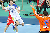 25.01.2013 Barcelona, Spain. IHF men's world championship, 3º/4º place. Picture show Sebastian Skube in action during game between Slovenia vs Croatia at Palau St. Jordi