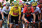 The peloton including Yellow Jersey Giulio Ciccone (ITA) Trek-Segafredo, Vincenzo Nibali (ITA) Bahrain-Merida and Richie Porte (AUS) Trek-Segafredo in action during Stage 8 of the 2019 Tour de France running 200km from Macon to Saint-Etienne, France. 13th July 2019.<br /> Picture: ASO/Alex Broadway | Cyclefile<br /> All photos usage must carry mandatory copyright credit (© Cyclefile | ASO/Alex Broadway)