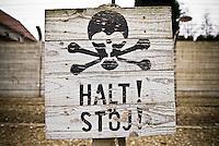 Warning sign at Auswitz concentration camp, Poland